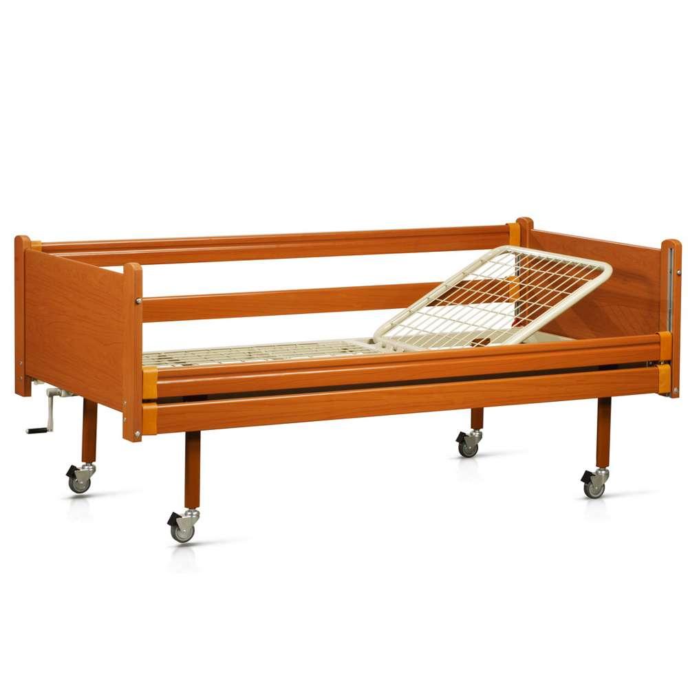 Медицинская кровать в дереве на колесах (2 секции) OSD-93
