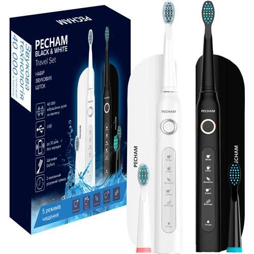 Набор электрических зубных щеток «Pecham» Black and White Travel Set
