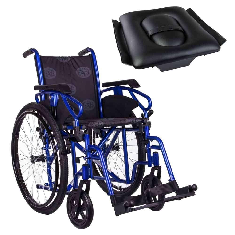 Стандартная инвалидная коляска OSD Millenium 3 Blue с санитарным оснащением