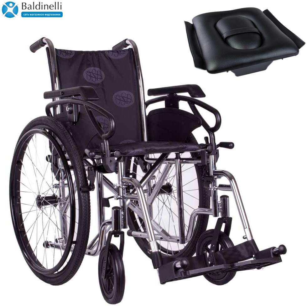 Стандартная инвалидная коляска, OSD Millenium 3 Grey с санитарным оснащением
