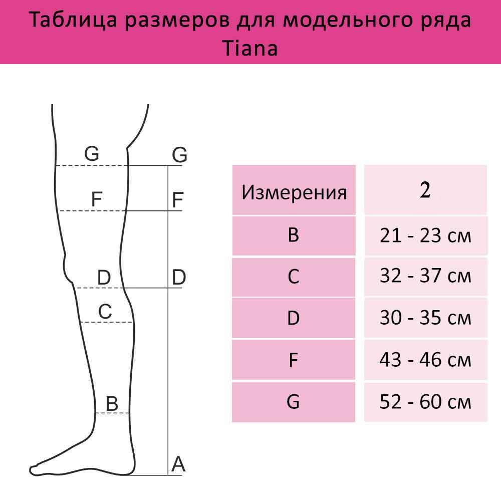 Чулки компрессионные 2 Класс с открытым носком, Tiana 965