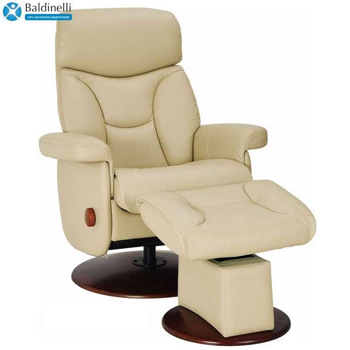 Кресло-реклайнер кожаное с механизмом качания, Relax Master