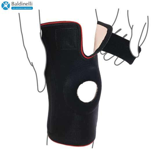 Бандаж на коленный сустав со спиральными ребрами жесткости, R6202