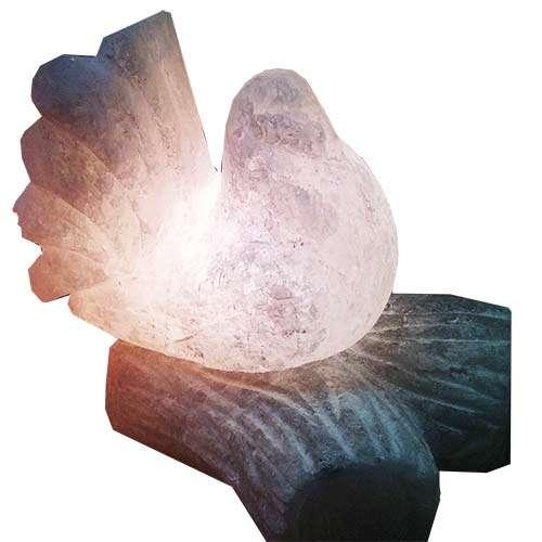 """Соляной светильник Артемсоль, """"Голубь"""" на соляной ветке"""