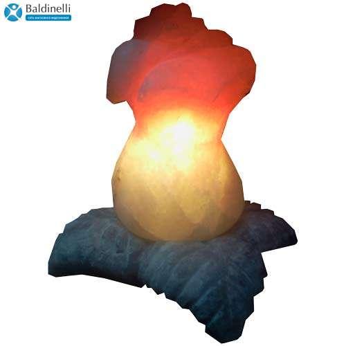 """Соляной светильник Артемсоль, """"Роза"""" большая, с соляной подставкой в виде листьев"""