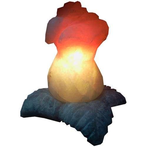 """Соляной светильник Артемсоль, """"Роза"""" средняя, с соляной подставкой в виде листьев"""