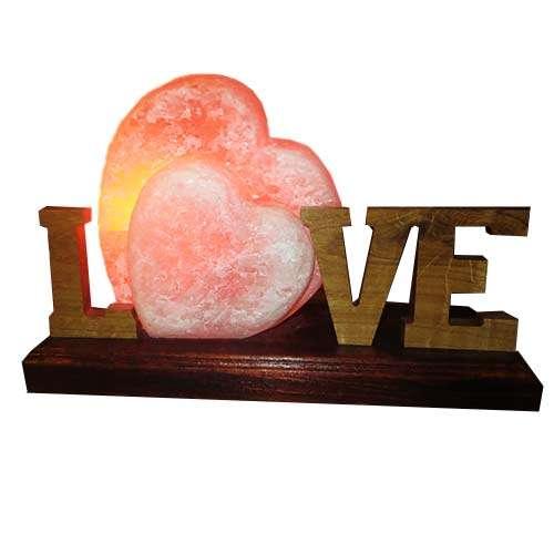 """Соляной светильник Артемсоль, """"Сердце"""" двойное с буквами"""
