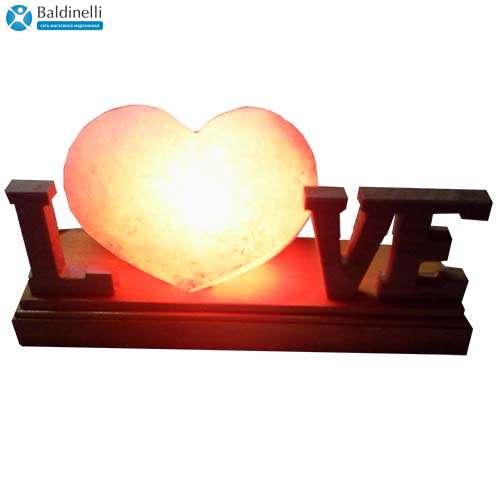 """Соляной светильник Артемсоль, """"Сердце"""" лежачее с буквами"""