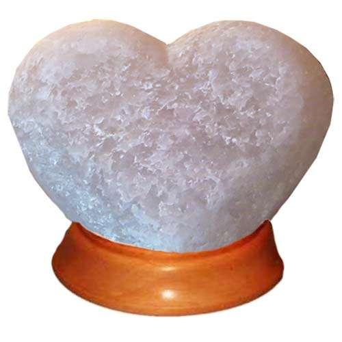 """Соляной светильник Артемсоль, """"Сердце лежачее"""", большое на деревянной подставке"""