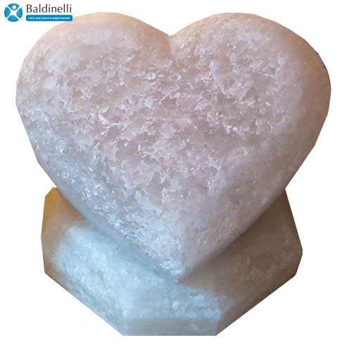 """Соляной светильник Артемсоль, """"Сердце лежачее"""", большое на соляной подставке"""