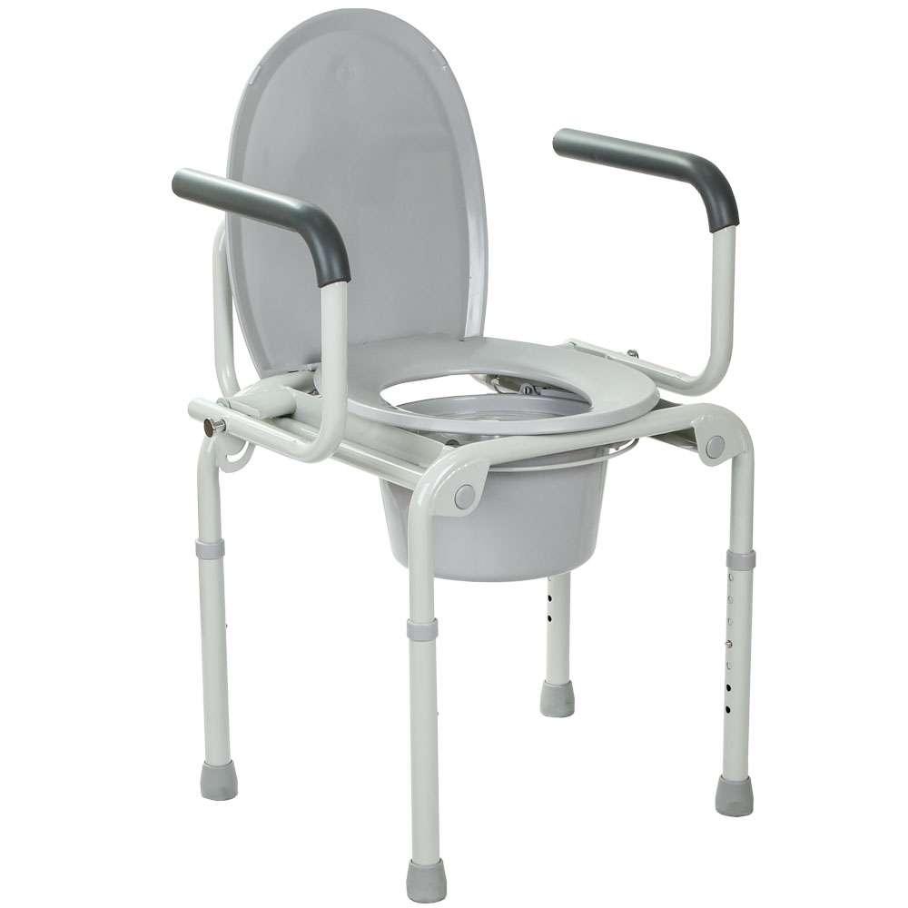 Стальной стул-туалет с откидными подлокотниками, OSD-2108D