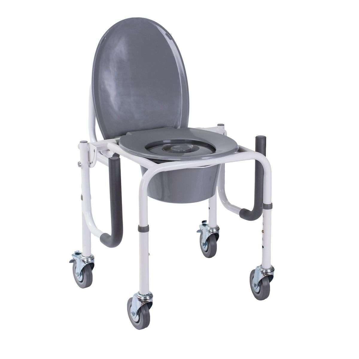 Стул-туалет на колесах с откидными подлокотниками, OSD-RB-2107DW